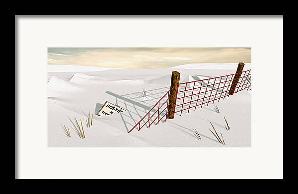 Snow Framed Print featuring the painting Snow Fence by Peter J Sucy