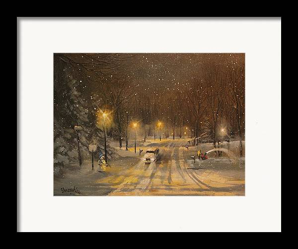 Christmas Lights Framed Print featuring the painting Snow For Christmas by Tom Shropshire
