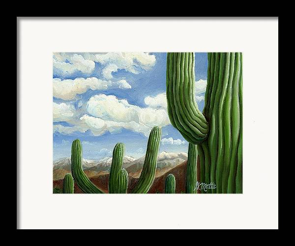 Landscape Framed Print featuring the painting Snow In Arizona by Gretchen Matta