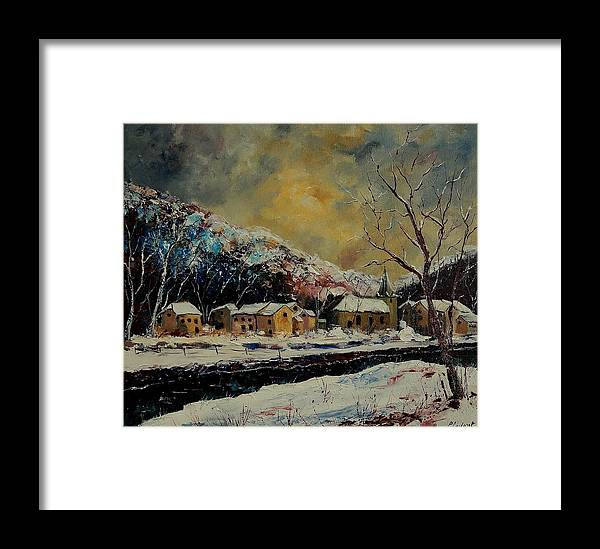 Winter Framed Print featuring the painting Snow In Bohan by Pol Ledent