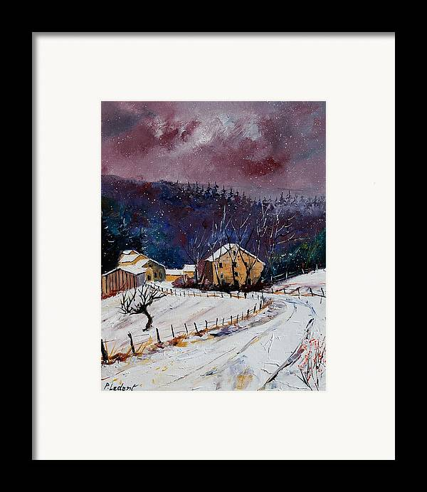 Landscape Framed Print featuring the painting Snow In Sechery by Pol Ledent