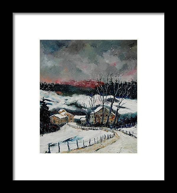 Winter Framed Print featuring the painting Snow In Sechery Redu by Pol Ledent