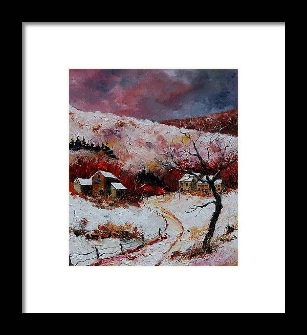 Snow Framed Print featuring the painting Snow In The Ardennes 78 by Pol Ledent