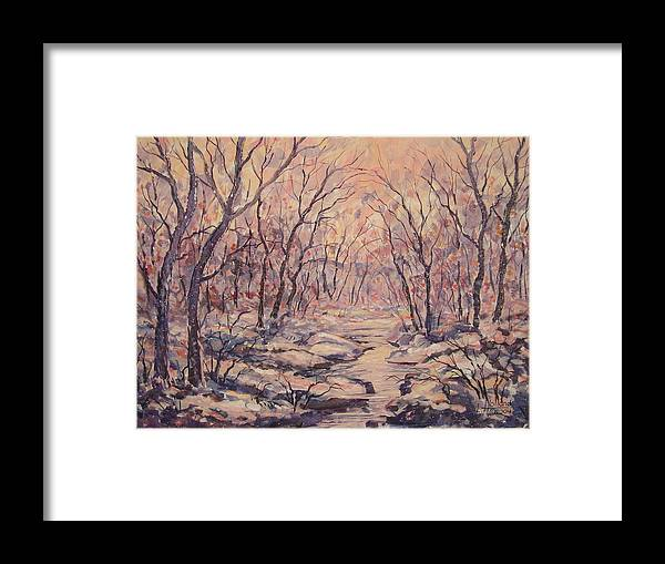 Landscape Framed Print featuring the painting Snow In The Woods. by Leonard Holland