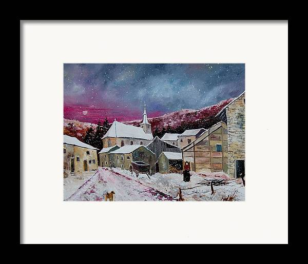 Snow Framed Print featuring the painting Snow Is Falling by Pol Ledent