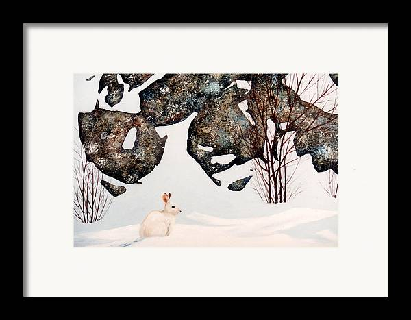 Wildlife Framed Print featuring the painting Snow Ledges Rabbit by Frank Wilson