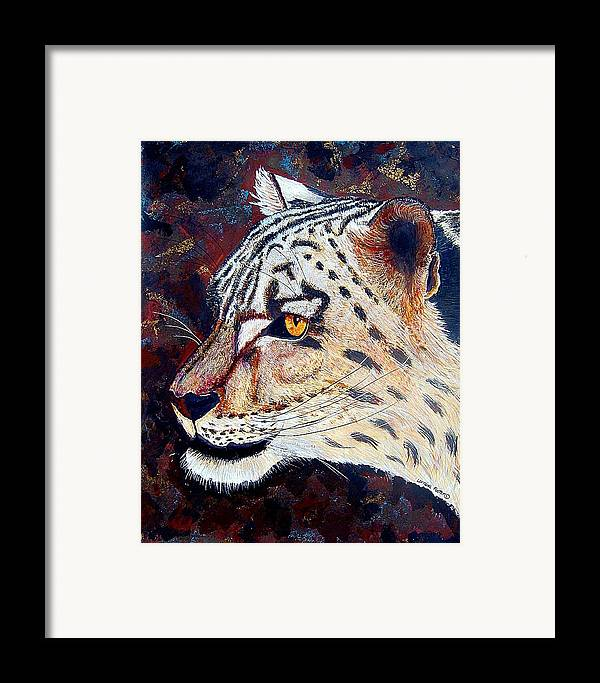 Framed Print featuring the mixed media Snow Leopard by Lorraine Foster