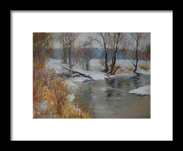 Landscape Framed Print featuring the painting Snow Melting by Kelvin Lei