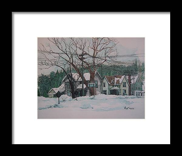 Landscape Framed Print featuring the painting Snow Next Door by Richard Ong