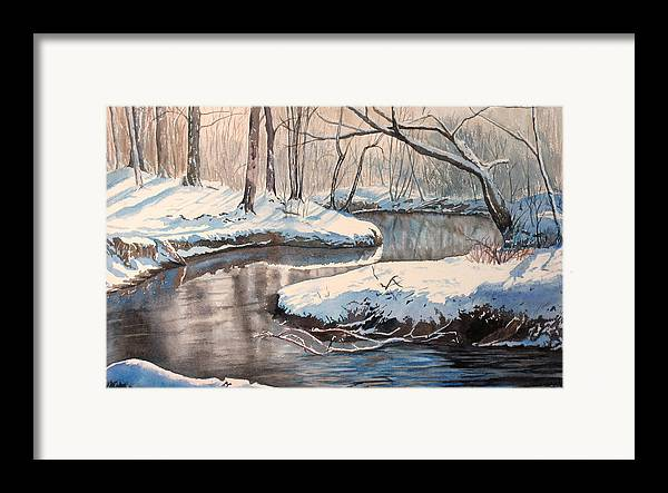Snow Framed Print featuring the painting Snow On Riverbank by Debbie Homewood