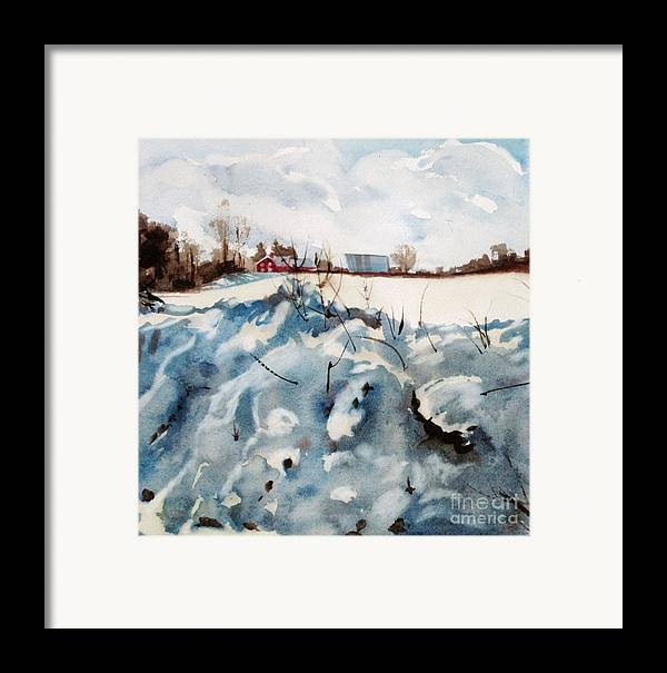 Snow Framed Print featuring the painting Snow On Southwick by Elizabeth Carr