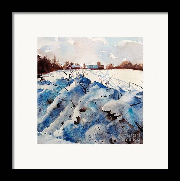 Snow Framed Print featuring the painting Snow On Southwick I by Elizabeth Carr