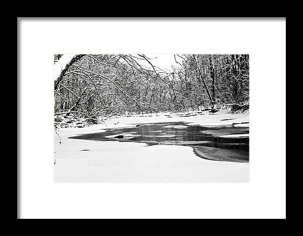 Snow Framed Print featuring the photograph Snow On The Stream by Robin Lynne Schwind