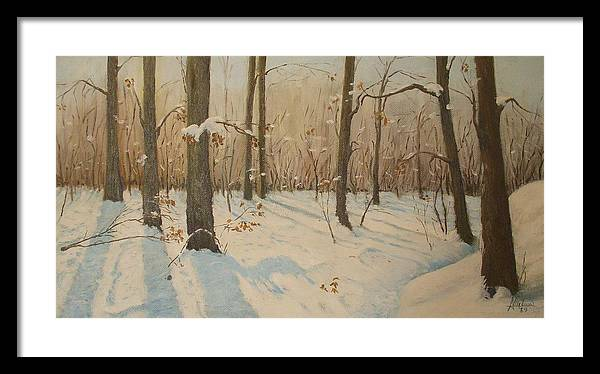 Snow Framed Print featuring the painting Snow On The Wood by Anthony Meton