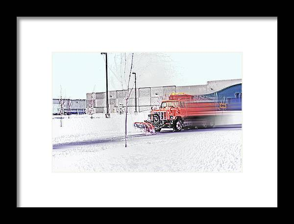 Winter Framed Print featuring the photograph Snow Plow In Business Park 1 by Steve Ohlsen
