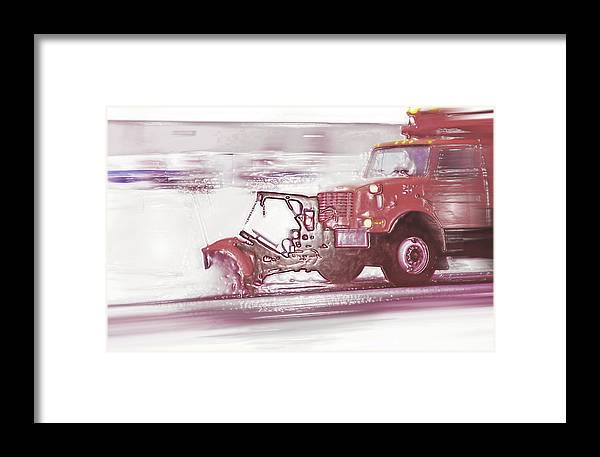 Winter Framed Print featuring the photograph Snow Plow In Business Park 2 by Steve Ohlsen