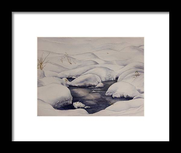Snow Framed Print featuring the painting Snow Pool by Debbie Homewood