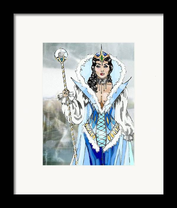 Queen Framed Print featuring the digital art Snow Queen by Scarlett Royal