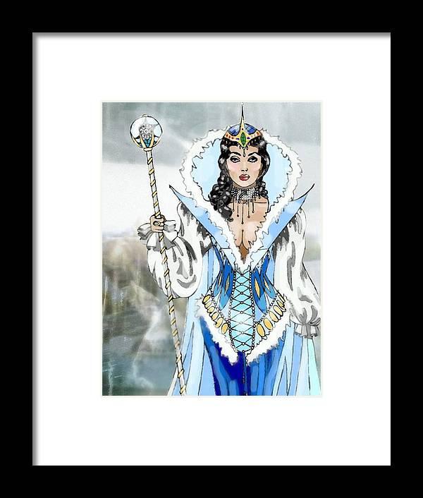 Queen Framed Print featuring the digital art Snow Queen by Scarlett Royal