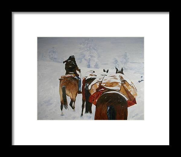 Rockies Framed Print featuring the painting snow storm in the Rockies by Keith Nolan