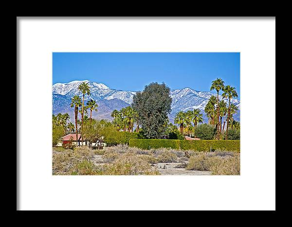 Snow-topped Mountains From Tahquitz Canyon Way In Palm Springs Framed Print featuring the photograph Snow-topped Mountains From Tahquitz Canyon Way In Palm Springs-california by Ruth Hager