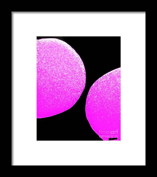 Painting Framed Print featuring the painting Snow Topped Pink Orbs by Marsha Heiken