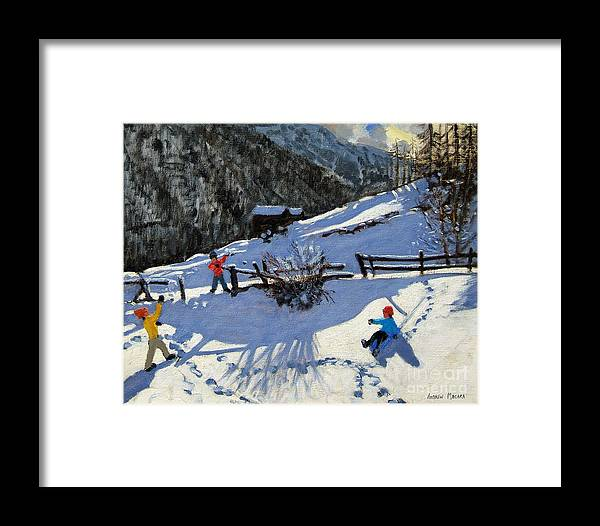 Zermatt Framed Print featuring the painting Snowballers by Andrew Macara