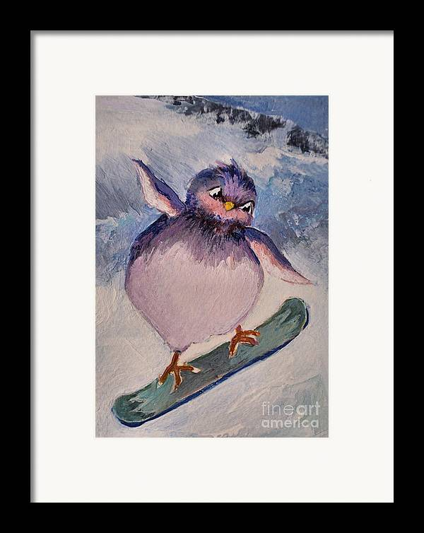 Bird Framed Print featuring the painting Snowboard Bird by Diane Ursin