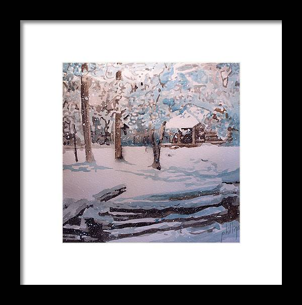 Cabin Framed Print featuring the painting Snowbound by Jim Phillips
