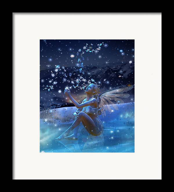 Christmas Card Framed Print featuring the digital art Snowflake by Mary Hood
