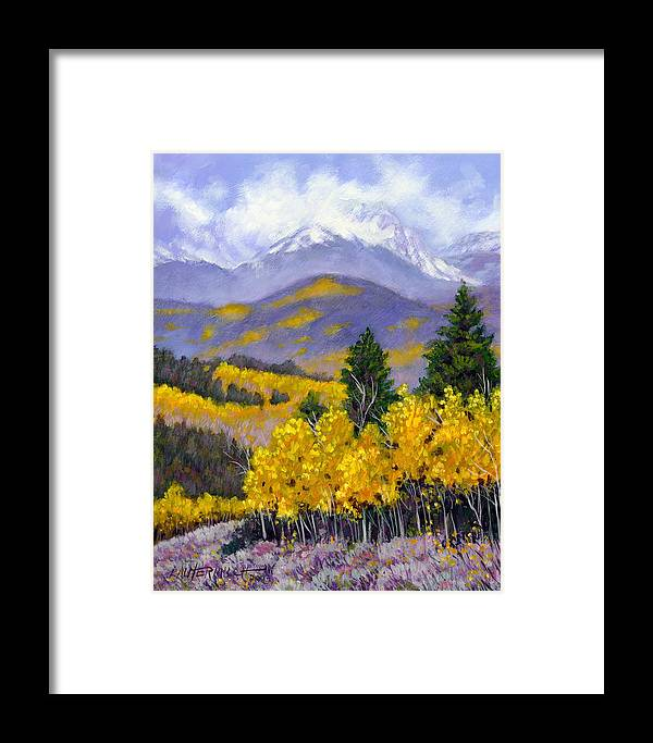 Rocky Mountains Framed Print featuring the painting Snowing In The Mountains by John Lautermilch