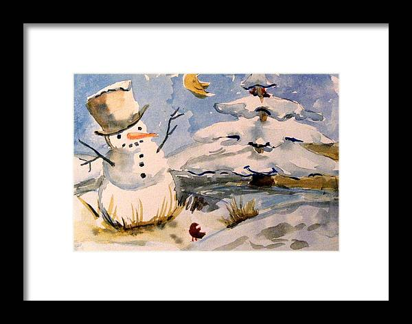 Frosty Framed Print featuring the painting Snowman Hug by Mindy Newman