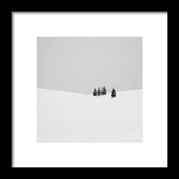 Contemporary Framed Print featuring the photograph Snowscapes  Almost there by Ronny Behnert