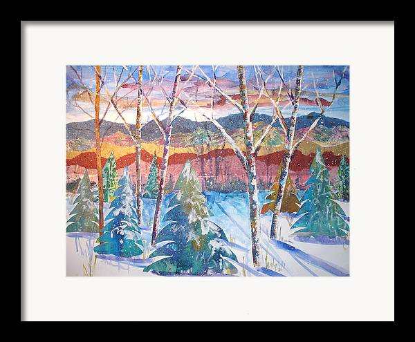 Landscape Framed Print featuring the mixed media snowy Afternoon by Joyce Kanyuk