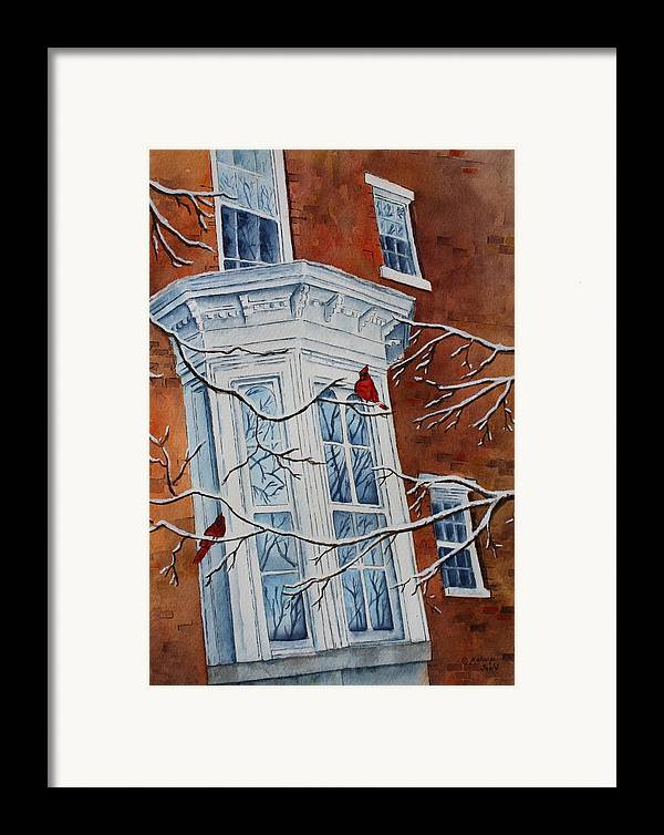 Architectural Landscape Framed Print featuring the painting Snowy Bay by Patsy Sharpe