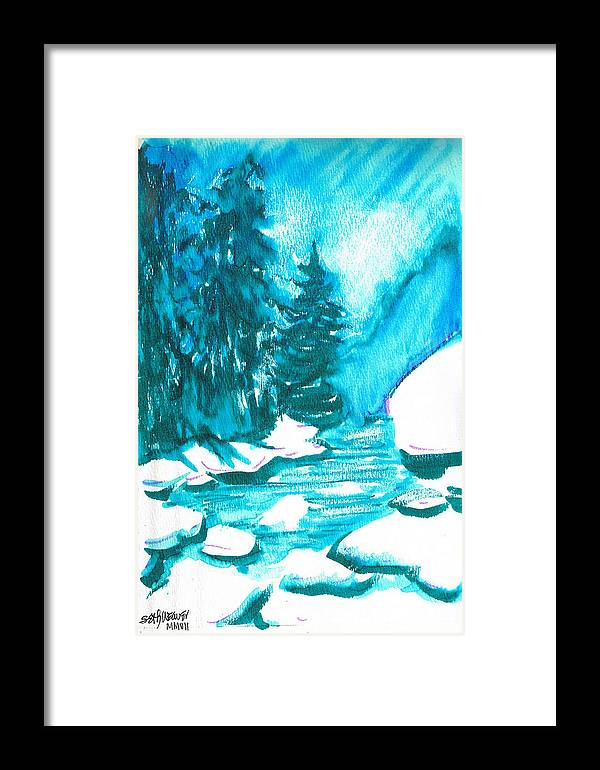 Chilling Framed Print featuring the mixed media Snowy Creek Banks by Seth Weaver