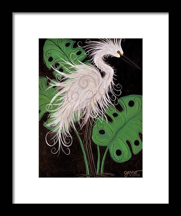 Snowy Egret Artwork Framed Print featuring the painting Snowy Egret Deco by Helen Gerro
