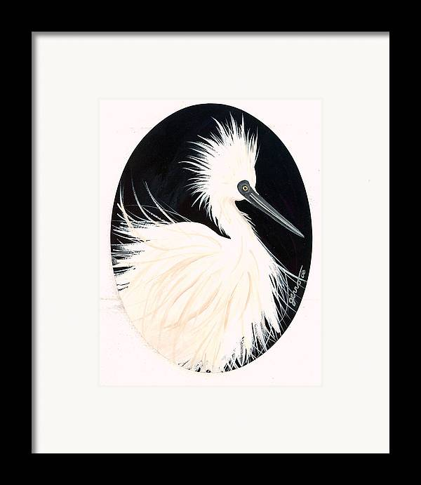 Birds Framed Print featuring the painting Snowy Egret by Helen Gerro