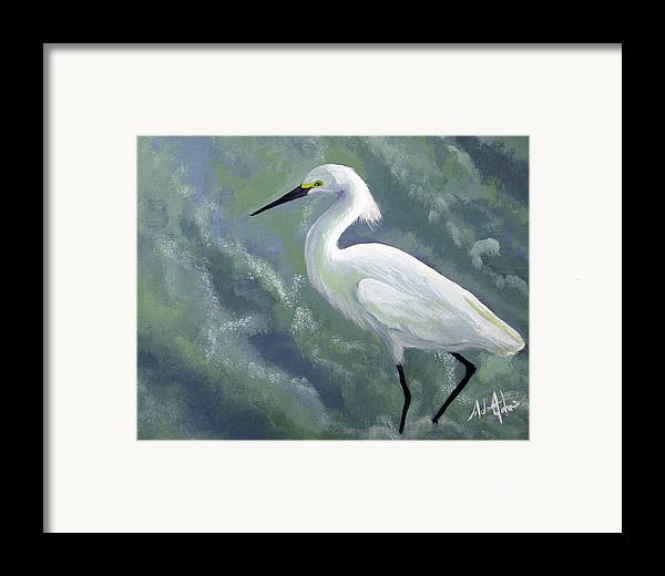 Egret Framed Print featuring the painting Snowy Egret In Water by Adam Johnson