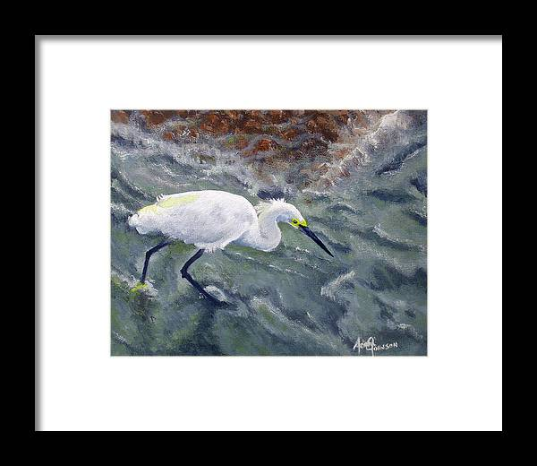 Egret Framed Print featuring the painting Snowy Egret Near Jetty Rock by Adam Johnson