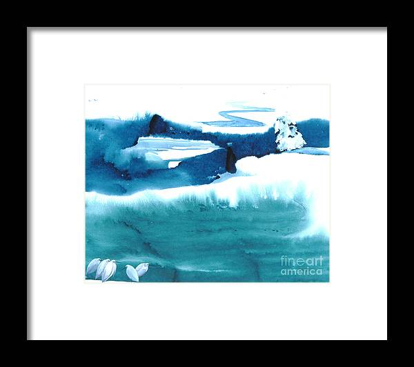 A Flock Of Snowy Egrets Standing In Snowy Country - A Watercolor Painting Framed Print featuring the painting Snowy Egrets by Mui-Joo Wee