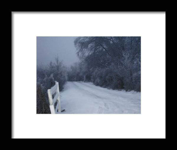 Landscape Framed Print featuring the photograph Snowy Evening by Martie DAndrea