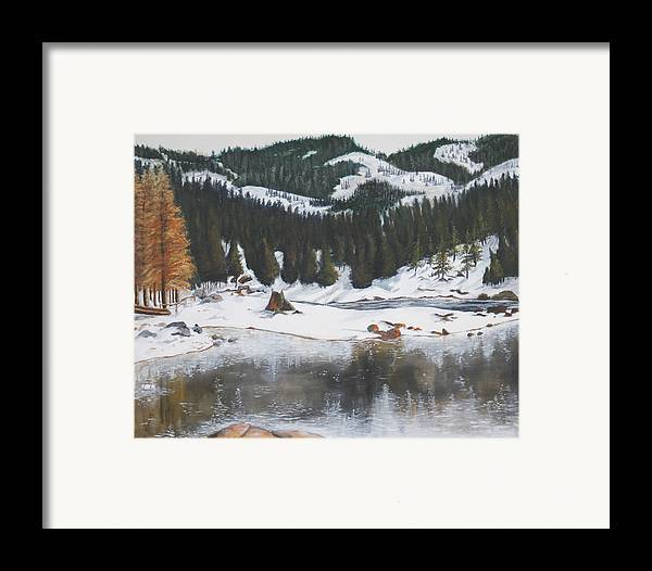 Snow Framed Print featuring the painting Snowy Lake by Travis Day
