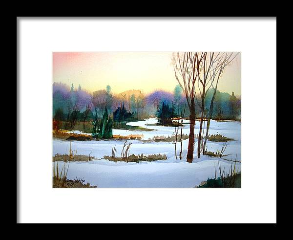 Watercolor Framed Print featuring the painting Snowy Landscape Scene by Larry Hamilton