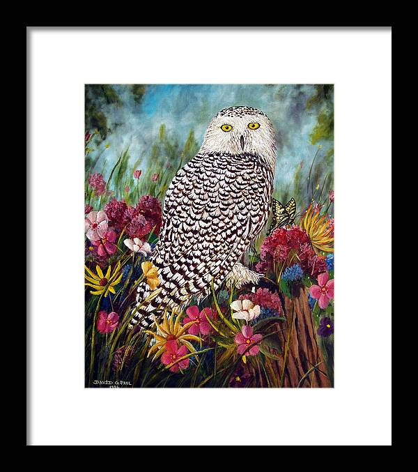 Owl Framed Print featuring the painting Snowy Owl by David G Paul