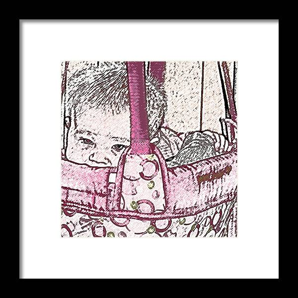 Portrait Portraits Infant Infants Infancy Baby Babies Girl Girls Female Snug Snuggle Cozy Pediatric Pediatrician Jenny Jump Up Comfort Pink Rose Framed Print featuring the photograph Snug As A Bug In A Rug by Grace Rose