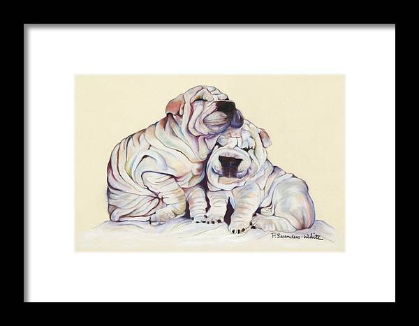 Dog Painting Framed Print featuring the pastel Snuggles by Pat Saunders-White