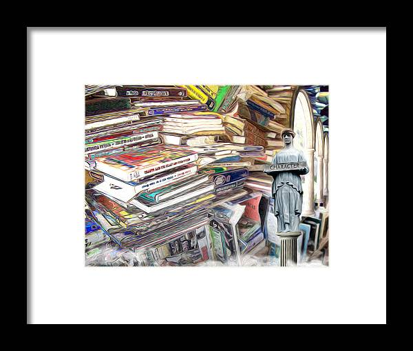 Books Framed Print featuring the digital art So Many Books To Read by Phil Perkins