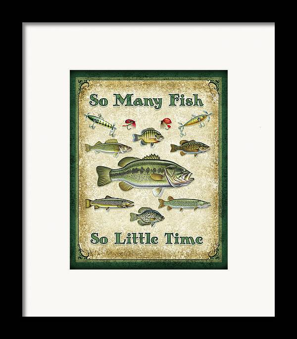 Jon Q Wright Framed Print featuring the painting So Many Fish Sign by JQ Licensing