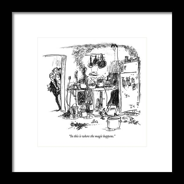 Incompetence Framed Print featuring the drawing So this is where the magic happens by Robert Weber